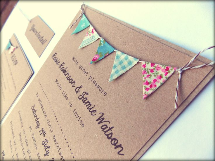 Wedding Invitation. Unique Rustic Kraft Card with Bunting. Summer Fete Country Wedding with RSVP. £3.00, via Etsy.