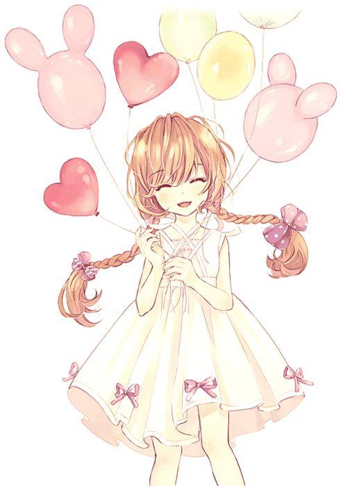 Garota Anime Kawaii-Balões <3