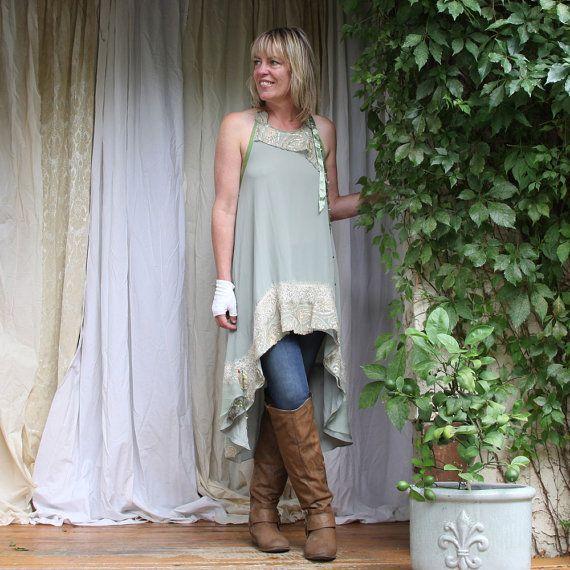 upcycled clothing  .  hi lo tunic dress  .  juniper breeze on Etsy, $129.00 CAD