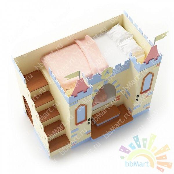 """Кровать детская двухъярусная со шкафом """"Замок"""""""