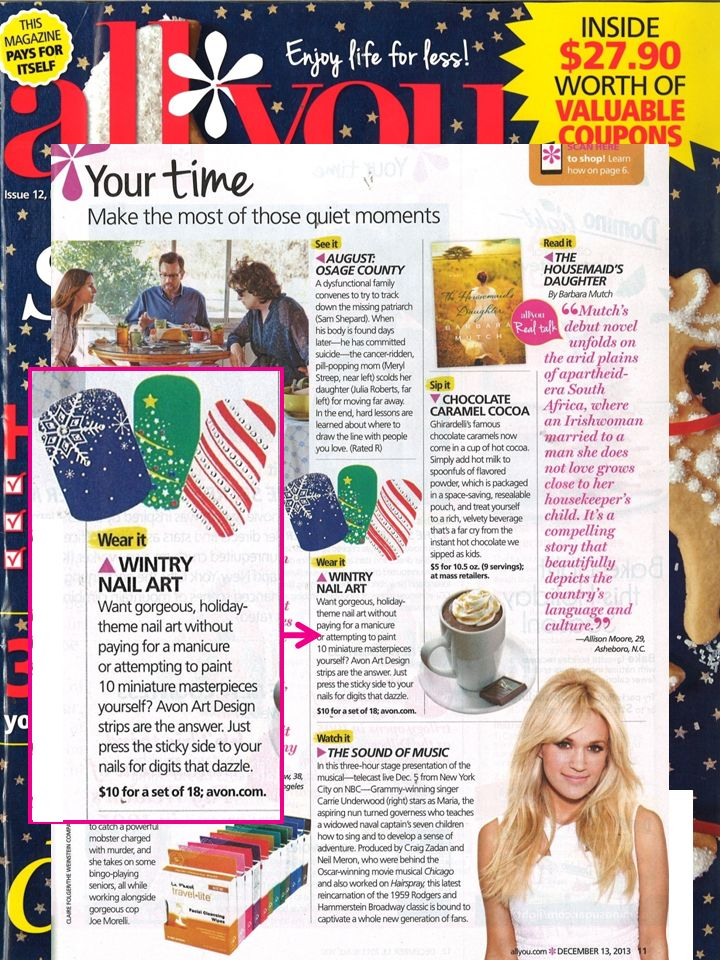 Loving the fun #holiday #nailart featured in @ALL YOU Magazine! #holidaynails