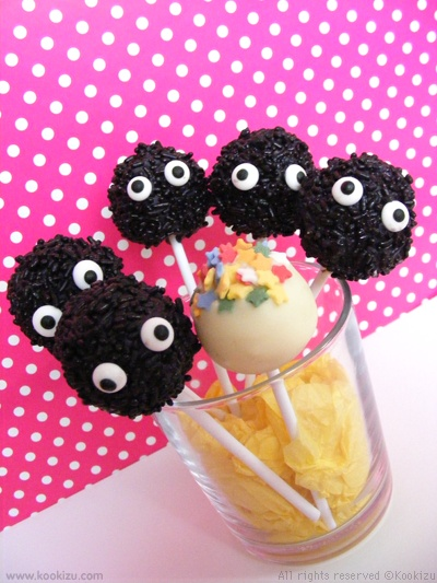 These are ADORABLE!  The soot fuzzies from Spirited Away <3: Cakes Bites, Cakes Pop, Cakepops Truffles, Sprites Cakes, Cake Pop, Soot Sprites, Sprite Cake, Cakes Ball, Sprinkles Cakes