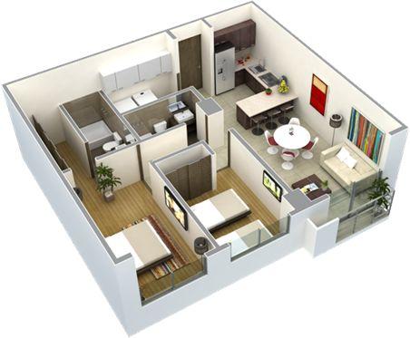 planos de casas modernas de 2 recamaras