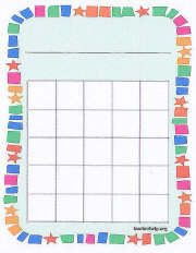 A sticker chart that can be used for a variety of purposes. This prints two on a page and is found at http://www.teacherhelp.org/other_printables_for_the_classroom.htm