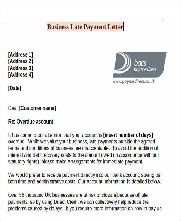 11 Late Payment Letter Templates Lettering Letter Addressing