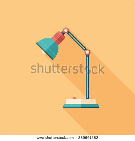 Desk lamp flat square icon with long shadows. #homeinterior #homefurniture #flaticons #vectoricons #flatdesign