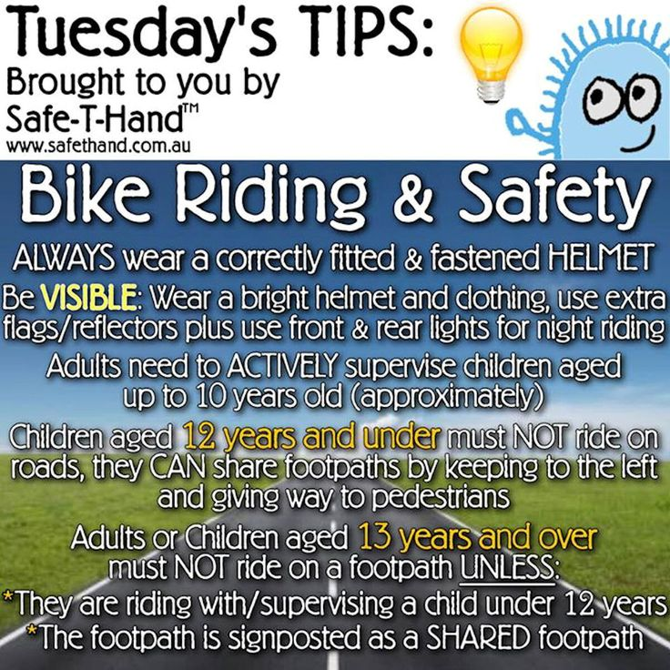 Road Safety Tip 'Bike Riding & Safety'  For more tips, competition pre-entry, discounts + more - Join our newsletter: www.safethand.com.au #roadsafety #tips #safethand #fundraise #educate #child #pedestrian