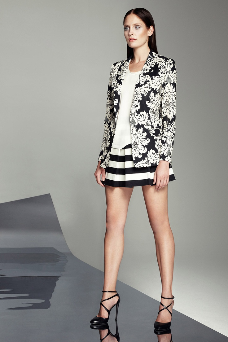 Spring 2013 | Robert Rodriguez  Contrasting patterns - busy pattern calmed down by stripe and solid white. Black and white.