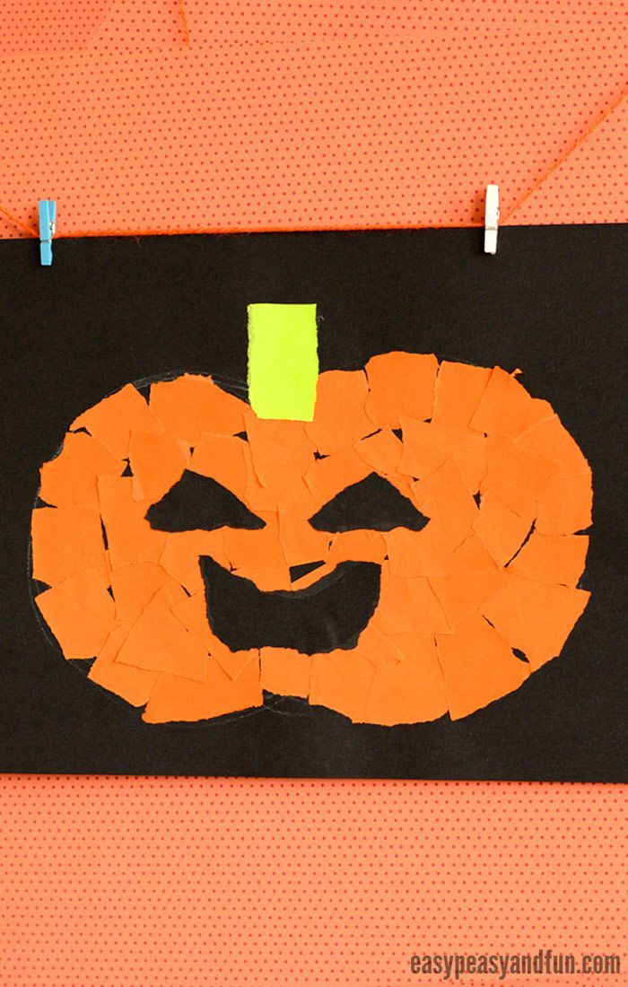 Halloween Torn Paper Art Ideas Mosaic Collage Art Halloween
