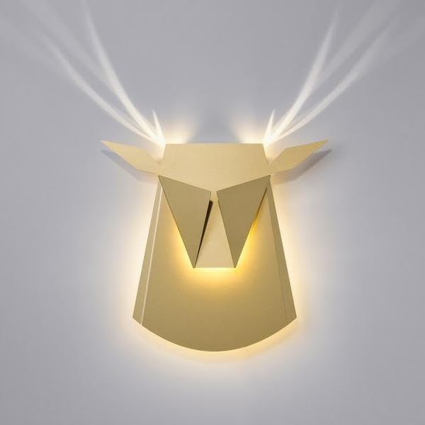 Gold Aluminium Deer Head LED light fixture