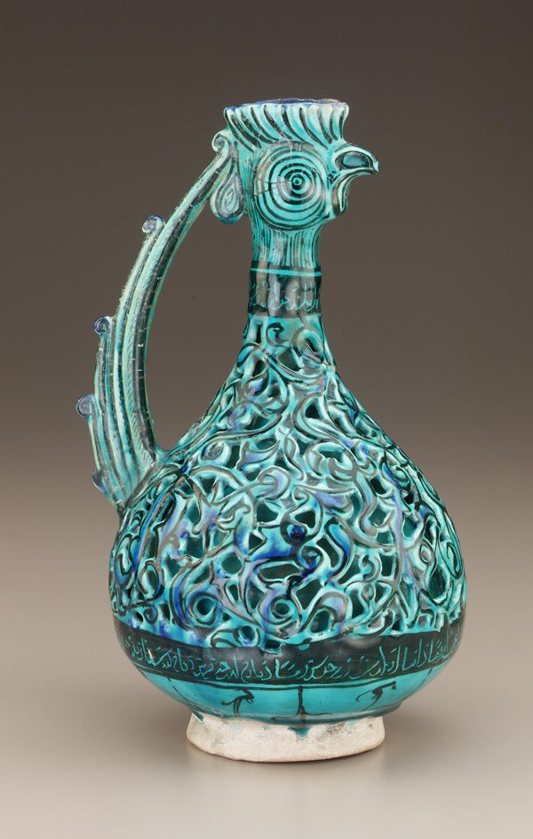 Double-shelled ewer  early 13th century    Saljuq period     Stone-paste body painted under glaze  H: 29.1 W: 18.1 D: 18.1 cm   Iran