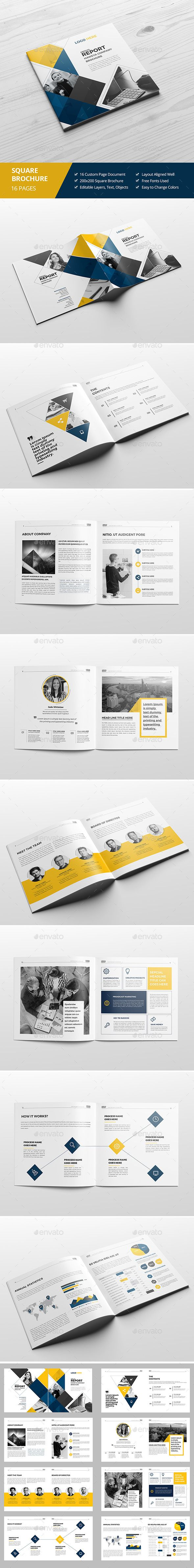 Haweya Square Brochure Template 	InDesign INDD