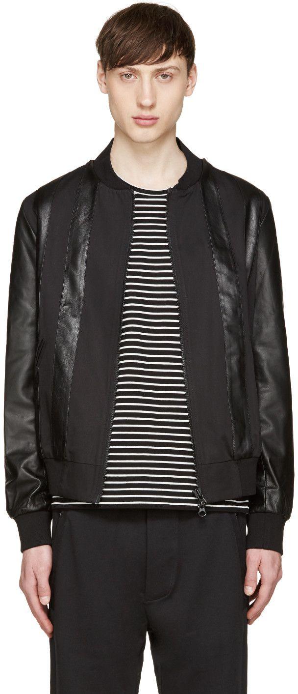 GIULIANO FUJIWARA BLACK TWILL & LEATHER BOMBER JACKET. #giulianofujiwara #cloth #jacket