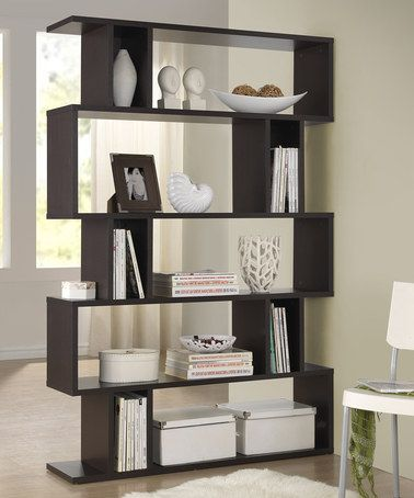 Dark Brown Goodwin Five-Level Modern Bookshelf.....use wide book shelves to create a reading corner...