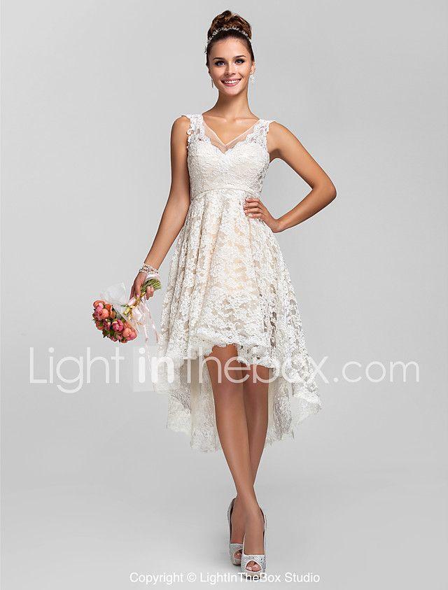 Lan ting noiva assimétrica rendas ver através vestido de dama de honra - uma linha / princesa v-neck plus size / petite com rendas de 2017 por R$337.97