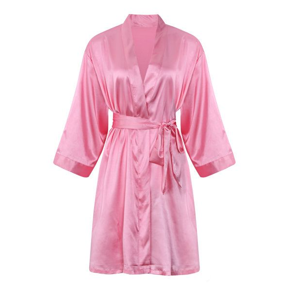 Comfortable Long Sleeved Smooth Silk Loungewear Night-robe For Women