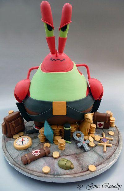 Mr Krabs CakeGrooms Cake, Cake Design, Fancy Cake, Unusual Cake, Amazing Cake, Krab Cake, Kids Cake, Food Recipe, Lara Croft