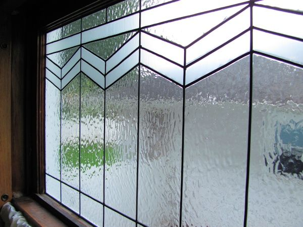 DIY Leaded Glass Window using Gallery Glass window paint products ~ They dry to a film which can be peeled off when you leave your rental!