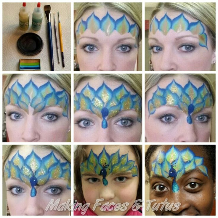 Easy peacock face painting tutorial by Cameron Garrett, Making Faces & Tutus www.makingfaces.vpweb.com