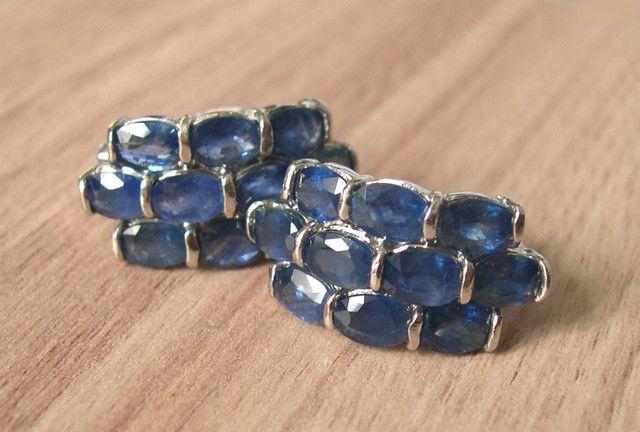 VERY NICE PAIR OF SILVER EARINGS + 20 NATURAL BLUE SAPPHIRES  sapphire  gemstone earrings , gemstone silver earrings