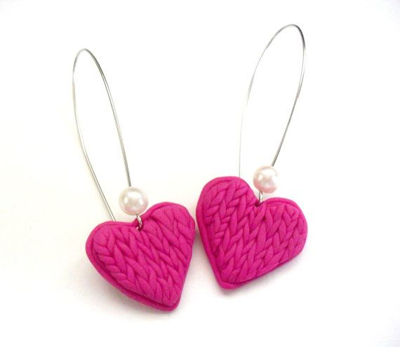 Pink knitted heart earrings polymer clay by DivineDecadance, $21.00