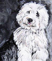 Black Old English Sheepdog | Old English Sheepdog Puppy Painting