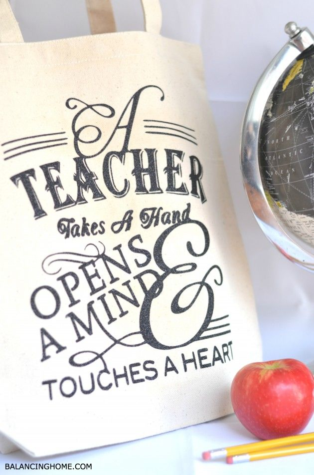 Teacher tote with Iron-on made with Cricut Explore -- Balancing Home. #DesignSpaceStar Round 2