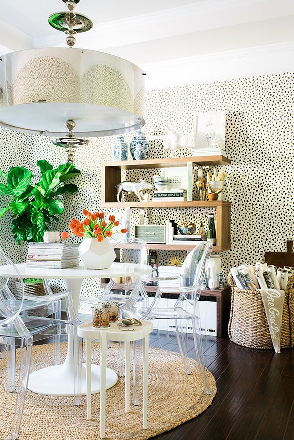 light, airy office with Thibaut Tanzania wall paper