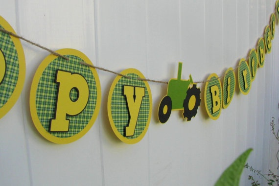 Tractor Birthday Banner  MADE TO ORDER by mypaperpantry on Etsy, $24.00