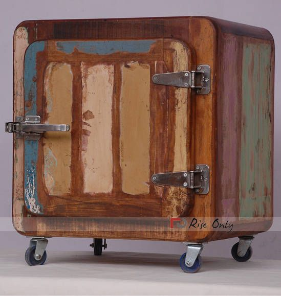 Indian Reclaimed and Recycled Wooden Fridge Shape Bedside Furniture http//www.riseonly