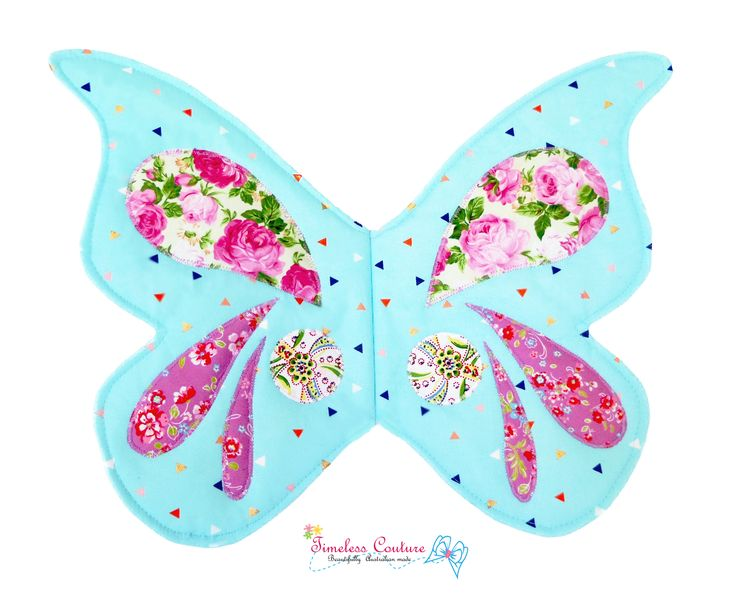 SPRING BUTTERFLY AQUA  Butterfly wings is ready for your little girl to have fun.  It's made out of soft cotton and embellished with colourful pretty prints, just like a real butterfly.  inspired by Wife-made Pattern.