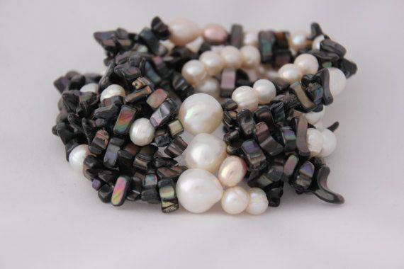 Pulsera 6 tiras perlas cruzadas, pulsera blanca y negra, pulsera mujer, elegante, boda, regalo