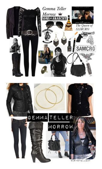 """Gemma Teller Morrow"" by jadedharleyrose ❤ liked on Polyvore featuring Revolver, SOA, LIST, Vince, Barry M, Color Club, Isabel Marant, Notion 1.3, Ray-Ban and Forever 21"