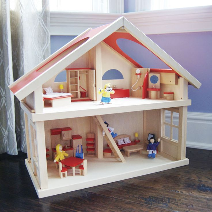 A sturdy, solid wood dollhouse in neutral colors is a great option for any child. This 2-story house features a staircase with trap door, roof openings for easy play and large windows. It comes comple