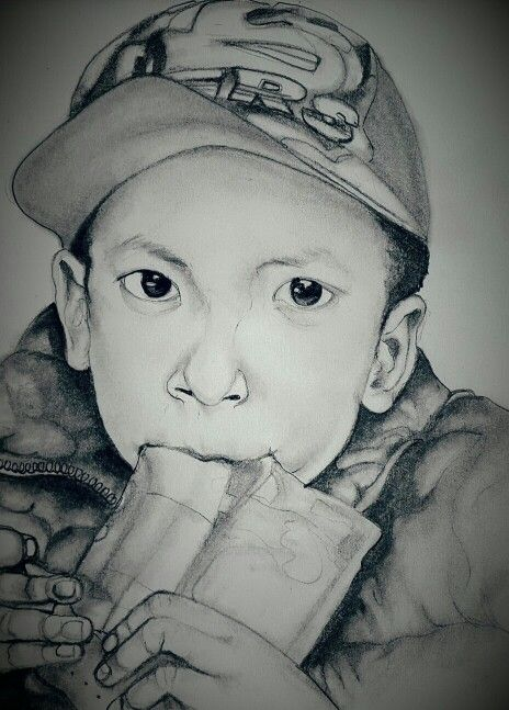 Boy feature in pencil