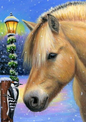 ACEO original pony horse woodpecker winter snow Christmas lamp painting art | Art, Paintings | eBay!