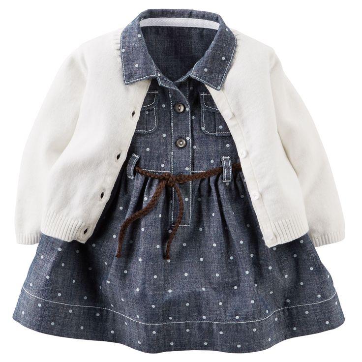 Baby Girl 2-Piece Chambray Shirt Dress & Sweater Set   Carters.com