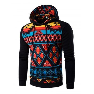 Cartoon Geometric Printed Hoodie-15.16 Online Shopping| GearBest.com