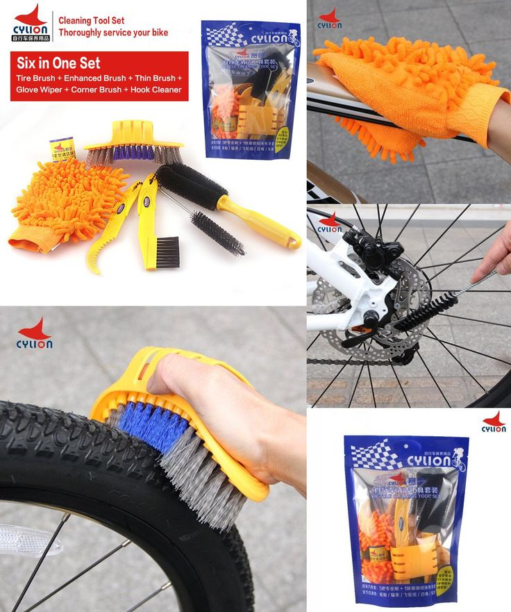[Visit to Buy] CYLION 6pcs/lot Mutilfunctional Mountain Bike Cleaning Tool Set Cycling Tire Brush Bicycle Chain Brake Disc Wheel Rim Cleaner #Advertisement