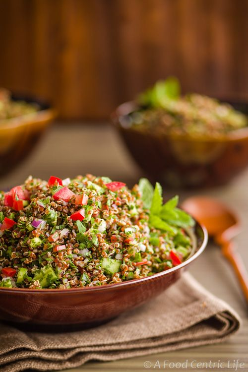 Refreshing, healthy quinoa salad (tabouleh). Great for summer, serve chilled. Gluten-free too!
