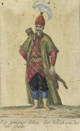 A common Solak, or soldier of the Foot Guard. Vorstellung der vorzuglichsten Gattungen des Türckischen Militairs und ihrer Officiere (Presentation of the genres of Turkish military men and their officers). Dated 1805