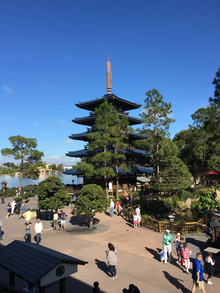 Pagoda in the Japan land in Epcot in Walt Disney World Florida