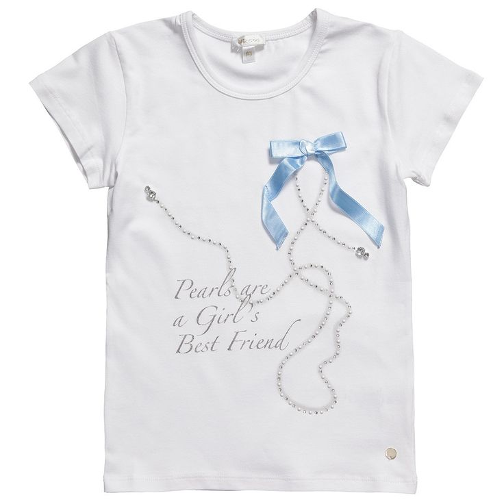 Girls White T-Shirt with Pearls - Tops - Baby | Childrensalon