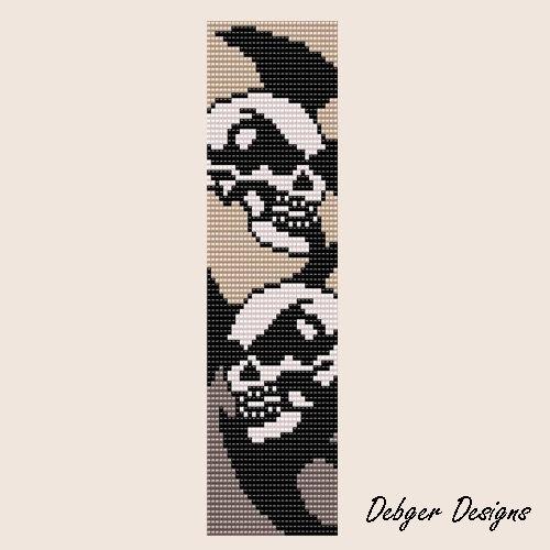 Skull Men - Loom Bracelet Cuff Pattern (SAVING buy 2 - 3rd free )