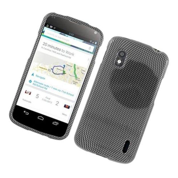 Insten Dark Carbon Fiber Hard Snap-on Glossy Case Cover For LG Google Nexus 4 #2318954