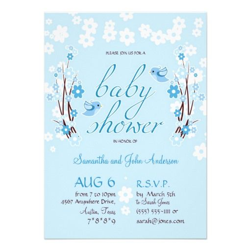 Flowers & Birds Baby Shower Modern Floral Blue Invitation - Customizable