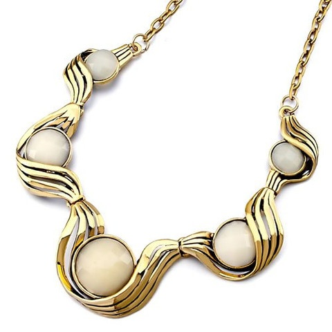 Huge Discount!!!! 18K Gold Plated Diamond Cut Ivory Horse Eye Necklace!  Imported from Italy!  $93.99 NOW $29.99