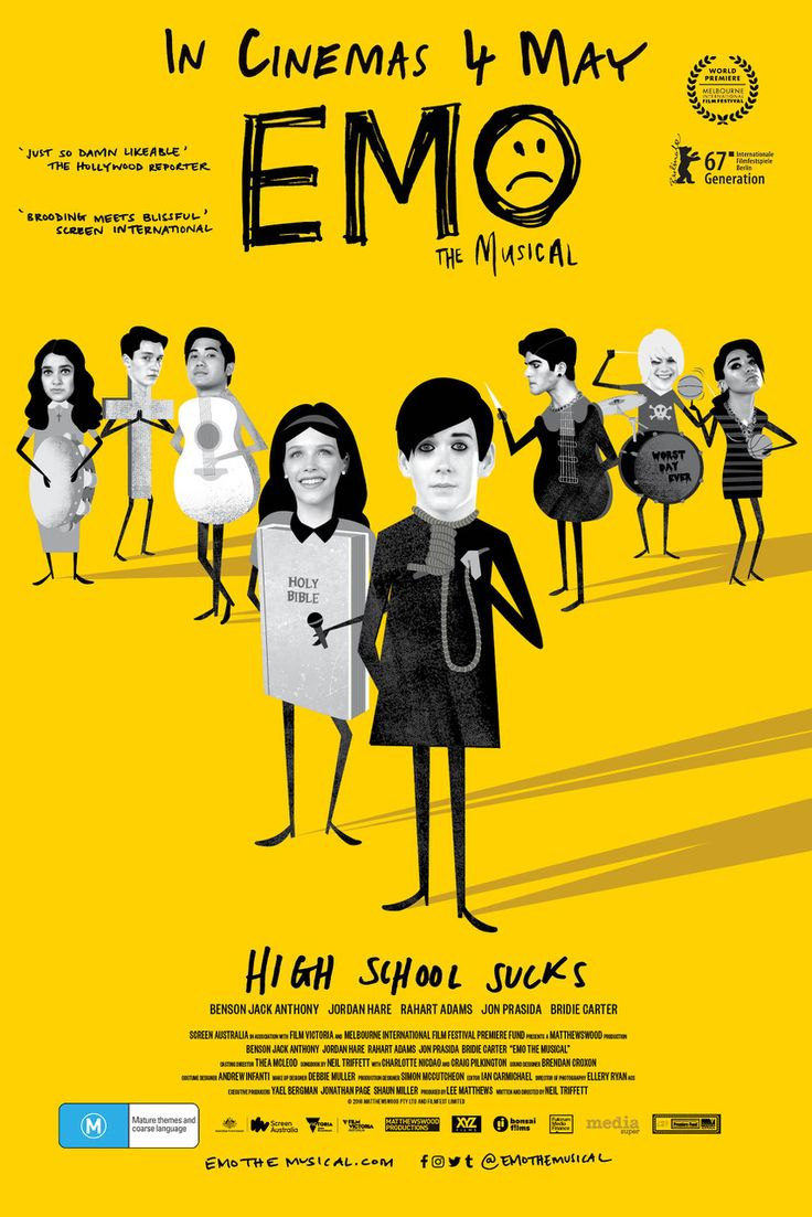 I highly recommend this little surprise movie. EMO THE MUSICAL is clever and it made me cry with laughter. If you are highly religious you will find this offensive and if a serious dark emo necromancer wanna-be you may actually laugh, ruining everything. See it for the songs and the humor and for it's light-hearted nature. I would go as far as saying good for the whole family. Full review is now up on Salty Popcorn.http://saltypopcorn.com.au/emo-the-musical/