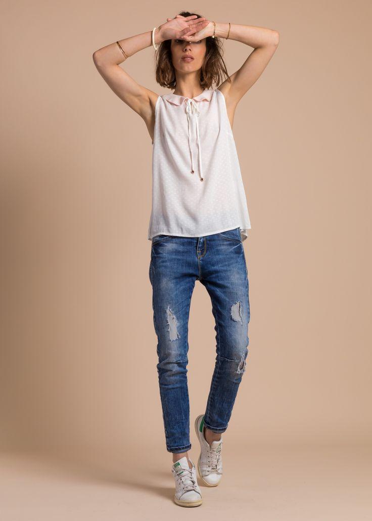Collection PE 17 | La petite étoile blouse manches courtes  col claudine   casual wear  casual chic