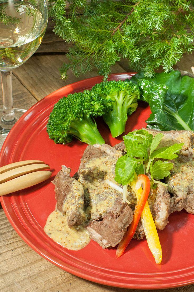 茹で鹿カタ肉のマスタードソース